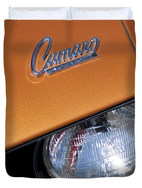 1969 Chevrolet Camaro Headlight Emblem Duvet Cover by Jill Reger