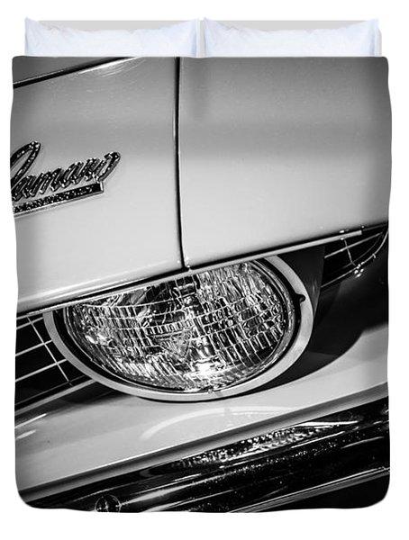 1969 Chevrolet Camaro In Black And White Duvet Cover by Paul Velgos