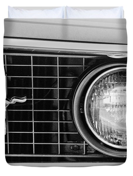 1969 Ford Mustang Mach 1 Grille Emblem Duvet Cover by Jill Reger