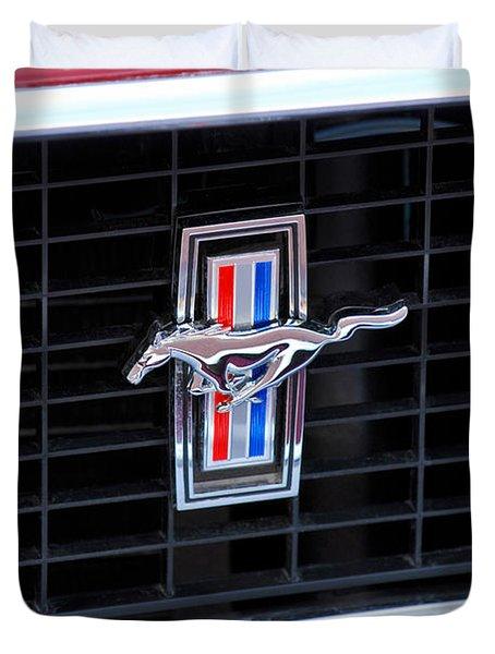 1969 Mustang Mach 1 Grille Emblem Duvet Cover by Jill Reger