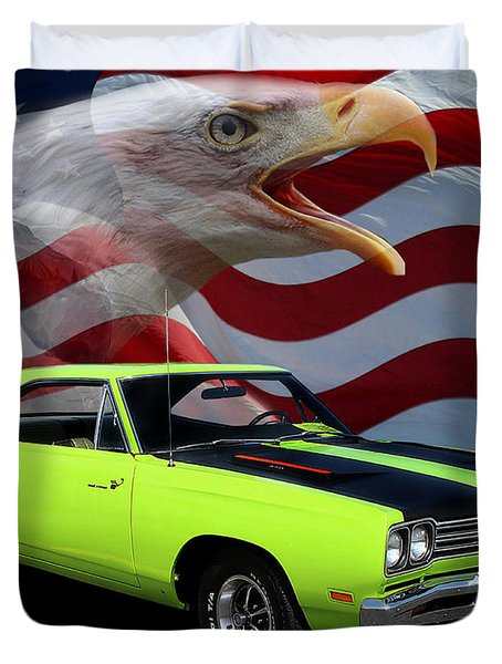 1969 Plymouth Road Runner Tribute Duvet Cover by Peter Piatt