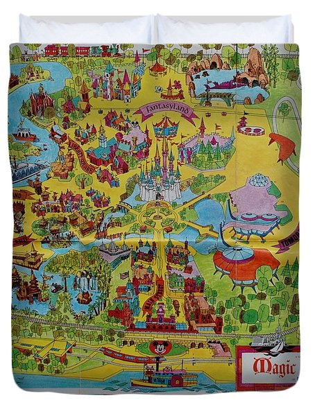 1971 Original Map Of The Magic Kingdom Duvet Cover by Rob Hans