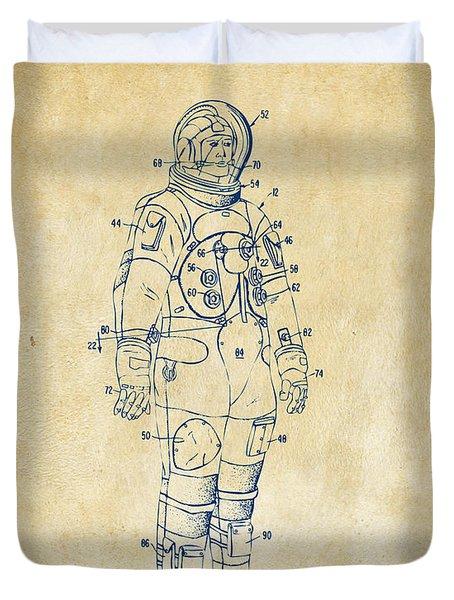 1973 Astronaut Space Suit Patent Artwork - Vintage Duvet Cover by Nikki Marie Smith