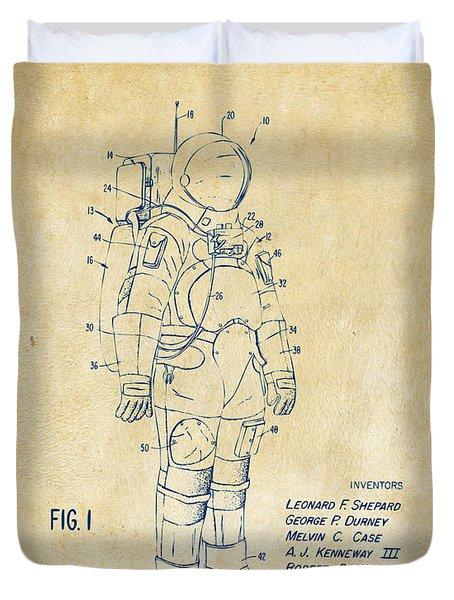 1973 Space Suit Patent Inventors Artwork - Vintage Duvet Cover by Nikki Marie Smith