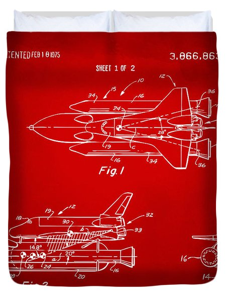 1975 Space Shuttle Patent - Red Duvet Cover by Nikki Marie Smith