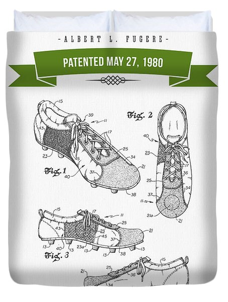 1980 Soccer Shoes Patent Drawing - Retro Green Duvet Cover by Aged Pixel