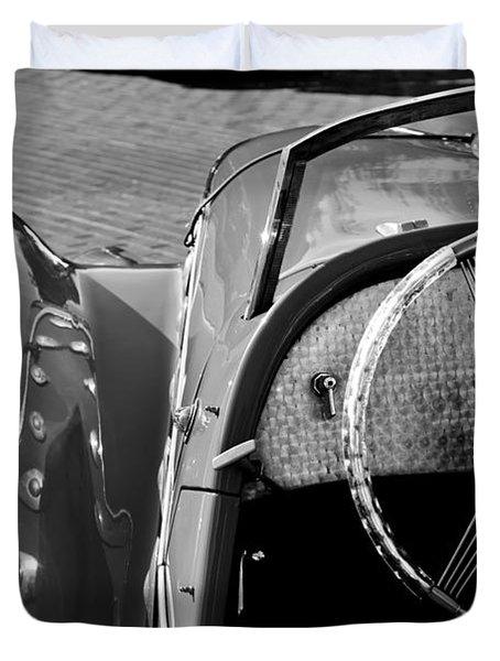 1937 Peugeot 402 Darl'Mat Legere Speacial Sport Roadster Recreation Steering Wheel Emblem Duvet Cover by Jill Reger