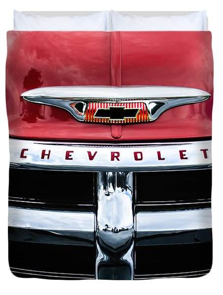 1955 Chevrolet 3100 Pickup Truck Grille Emblem Duvet Cover by Jill Reger