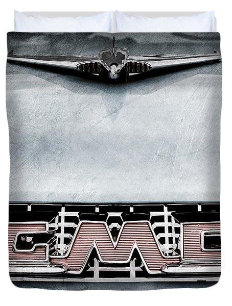 1956 Gmc 100 Deluxe Edition Pickup Truck Hood Ornament - Grille Emblem Duvet Cover by Jill Reger