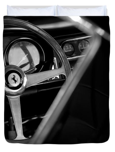 1967 Ferrari 275 GTB 4 Steering Wheel Emblem Duvet Cover by Jill Reger