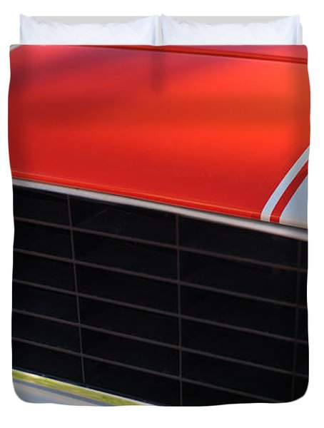 96 Inch Panoramic -1969 Chevrolet Camaro RS-SS Indy Pace Car Replica Grille - Hood Emblems Duvet Cover by Jill Reger
