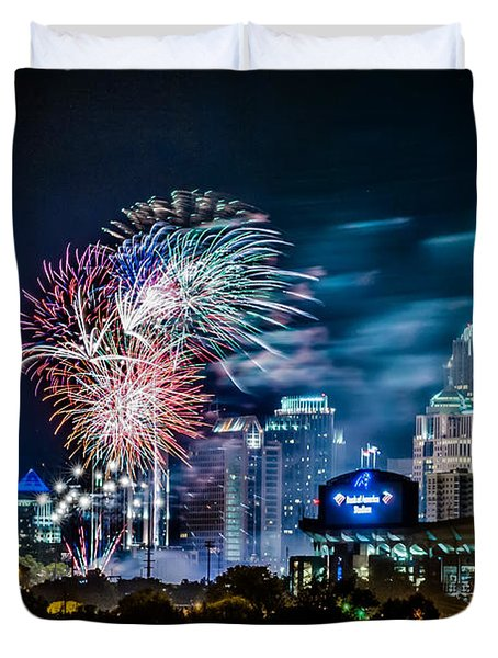 4th of july firework over charlotte skyline Duvet Cover by Alexandr Grichenko