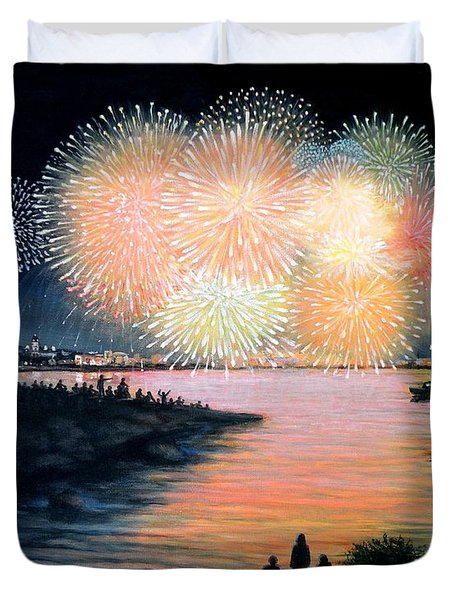 4th of July Gloucester Harbor Duvet Cover by Eileen Patten Oliver