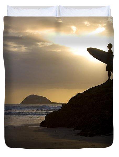A Surfer On Muriwai Beach New Zealand Duvet Cover by Deddeda