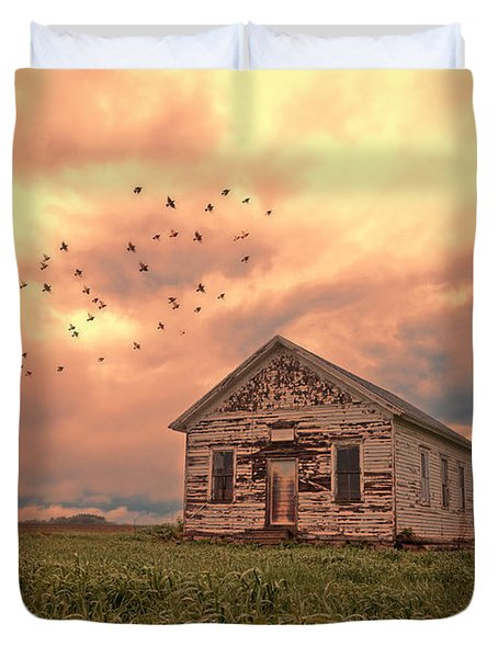 Abandoned Building In A Storm Duvet Cover by Jill Battaglia