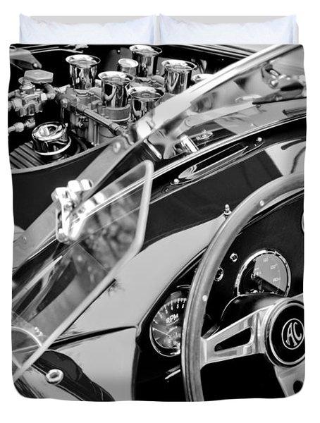 Ac Shelby Cobra Engine - Steering Wheel Duvet Cover by Jill Reger