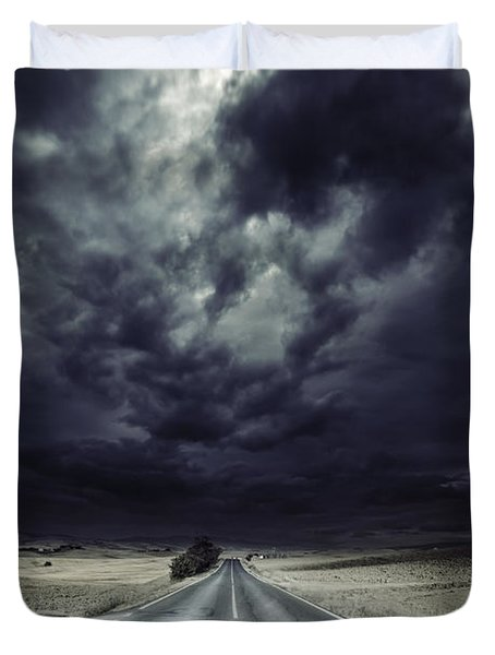 An Asphalt Road With Stormy Sky Above Duvet Cover by Evgeny Kuklev