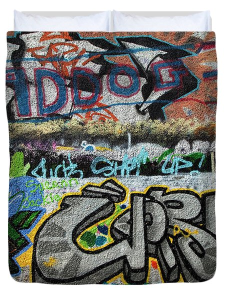 Artistic Graffiti On The U2 Wall Duvet Cover by Panoramic Images