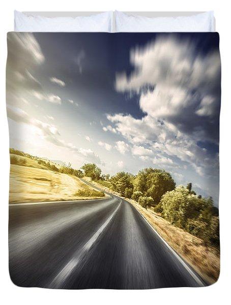 Asphalt Road In Field Against Moody Duvet Cover by Evgeny Kuklev