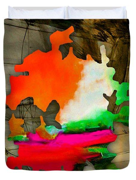 Austin Map Watercolor Duvet Cover by Marvin Blaine