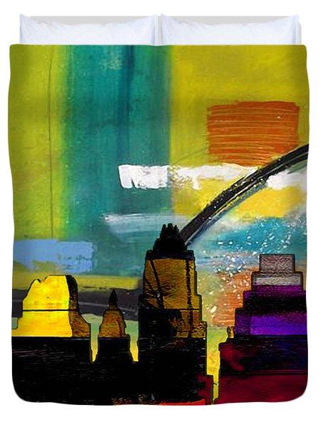 Austin Texas Skyline Watercolor Duvet Cover by Marvin Blaine