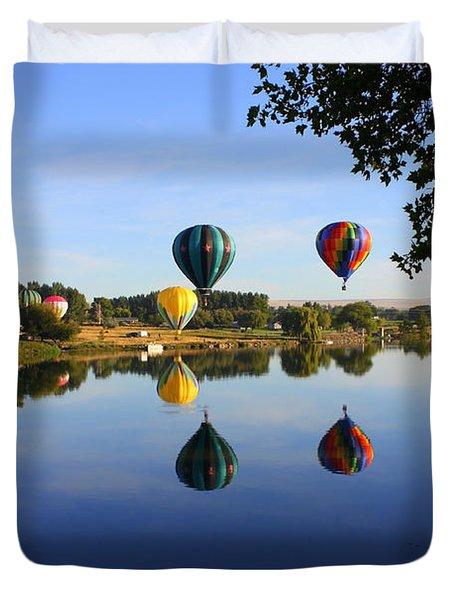 Balloons Heading East Duvet Cover by Carol Groenen