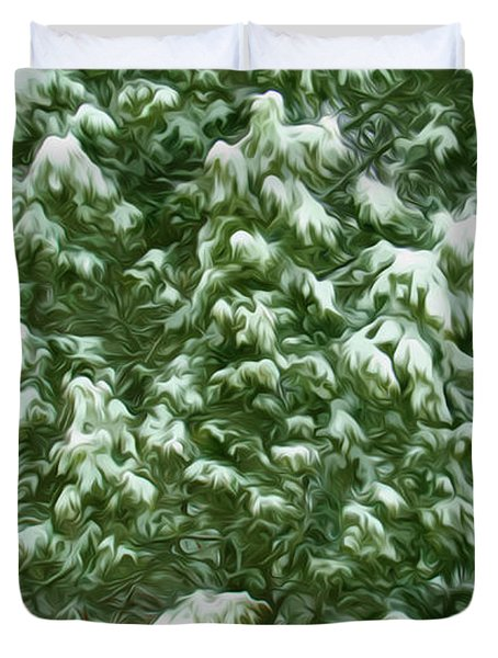 Beautiful Winter Tree Duvet Cover by Lanjee Chee