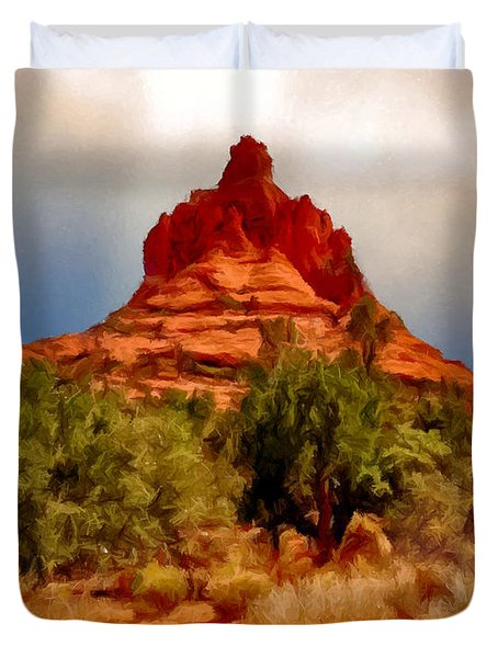 Bell Rock Vortex Painting Duvet Cover by Bob and Nadine Johnston