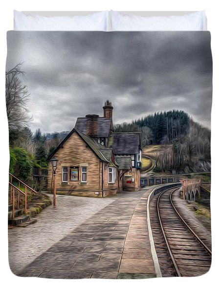 Berwyn Railway Station Duvet Cover by Adrian Evans