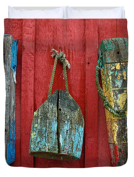 Buoys at Rockport Motif Number One Lobster Shack Maritime Duvet Cover by Jon Holiday