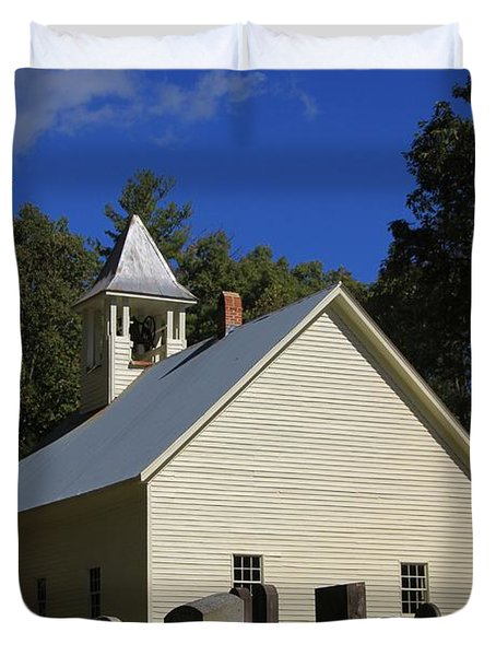 Cades Cove Primitive Baptist Church Duvet Cover by Dan Sproul
