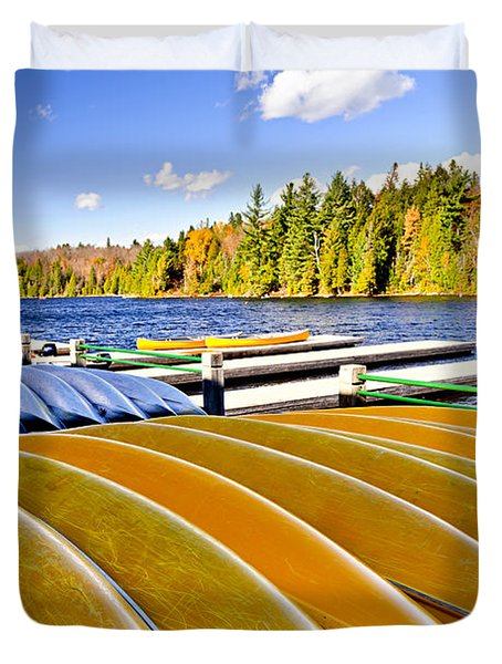 Canoes On Autumn Lake Duvet Cover by Elena Elisseeva