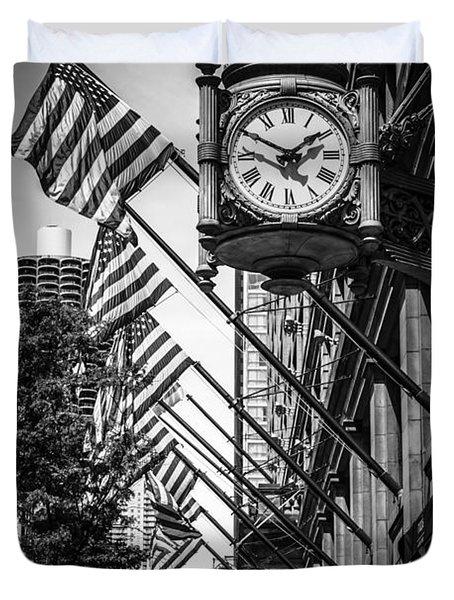 Chicago Macy's Clock in Black and White Duvet Cover by Paul Velgos