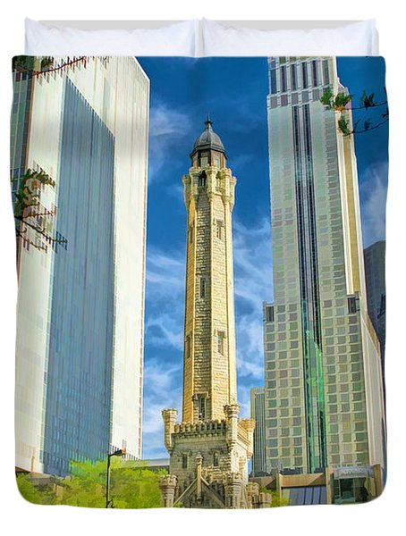 Chicago Water Tower Shopping Duvet Cover by Christopher Arndt