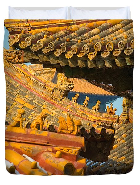 China Forbidden City Roof Decoration Duvet Cover by Sebastian Musial
