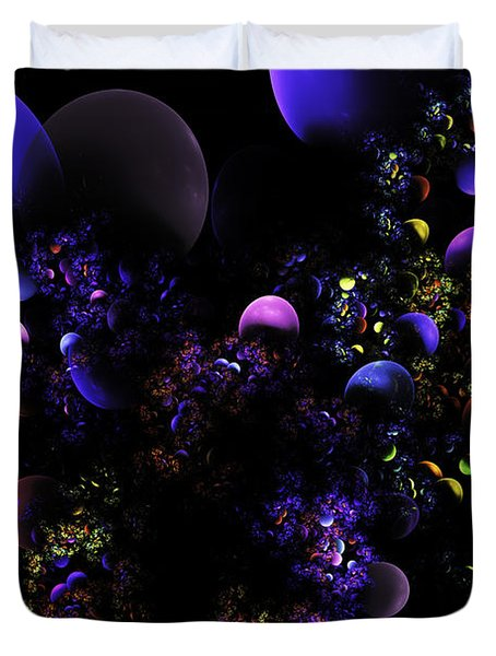 Computer Generated Spheres Abstract Fractal Flame Duvet Cover by Keith Webber Jr