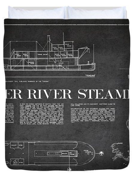 Copper River Steamboats Blueprint Duvet Cover by Aged Pixel