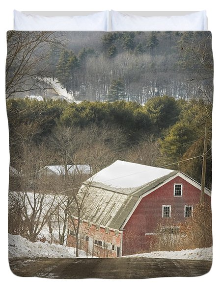 Country Road And Barn In Winter Maine Duvet Cover by Keith Webber Jr