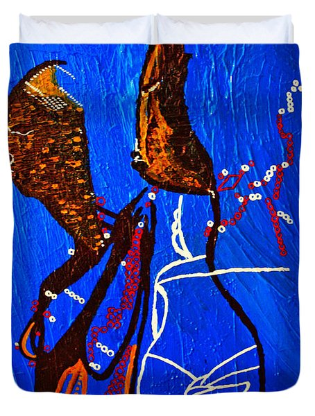Dinka Embrace - South Sudan Duvet Cover by Gloria Ssali