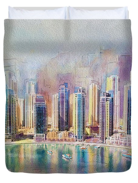 Downtown Dubai Skyline Duvet Cover by Corporate Art Task Force