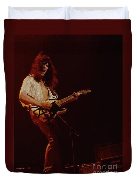 Eddie Van Halen - Van Halen At The Oakland Coliseum 12-2-1978 Rare Unreleased Duvet Cover by Daniel Larsen