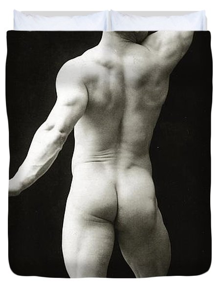Eugen Sandow In Classical Ancient Greco Roman Pose Duvet Cover by American Photographer