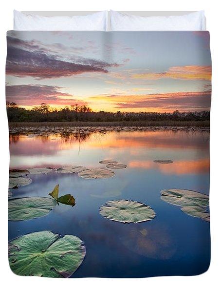 Everglades At Sunset Duvet Cover by Debra and Dave Vanderlaan