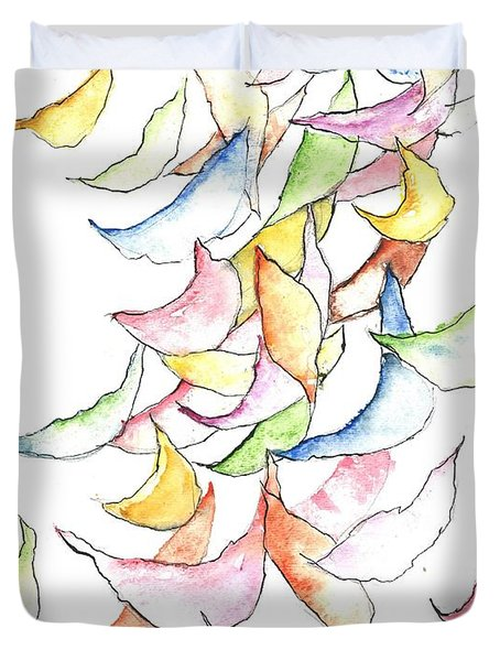 Falling Into Place Duvet Cover by Sherry Harradence