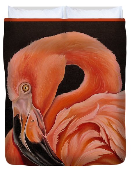 Flamingo Portrait Duvet Cover by Phyllis Beiser
