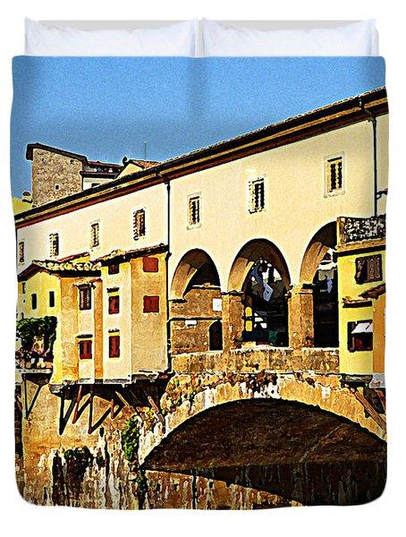 Florence Italy Ponte Vecchio Duvet Cover by Irina Sztukowski