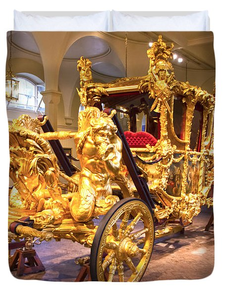 Gold State Coach Queen Elizabeth II Duvet Cover by David French