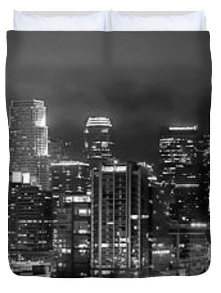 Gotham City - Los Angeles Skyline Downtown at Night Duvet Cover by Jon Holiday