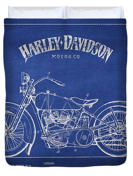 Harley Davidson Motorcycle Cycle Support Patent Drawing From 192 Duvet Cover by Aged Pixel