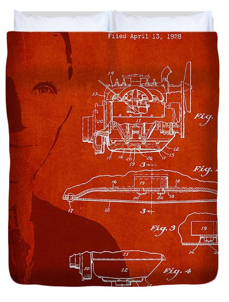 Henry Ford Engine Patent Drawing From 1928 Duvet Cover by Aged Pixel